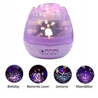 Lampada Illuminazione Notturna, GLISTENY Luce Notturna con USB Starry Sky 360° Proiettore Rotante, 3 Luci di Modalità, Proiettore Romantico Stelle e la Luna idea Regalo per Natale, Bambini e Innamorati Purple