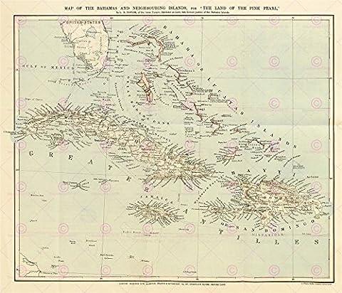 MAP ANTIQUE 1888 POWLES BAHAMAS NEIGHBOURING ISLANDS LARGE PRINT POSTER LF1743