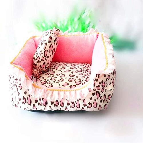 Corea estilo princesa gato cama perro rosado leopardo