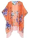 Mujeres Impresión Floral Gasa Kimono - Talla Extra Ligero Elegante Playa Vestido bikini...