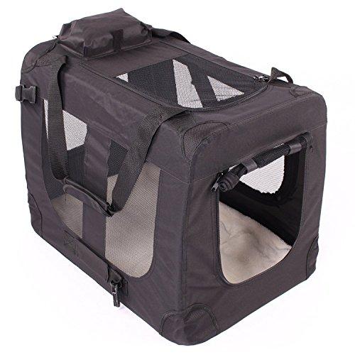 Transportbox faltbar inklusive Polster Hundebox Autobox Katzen in verschiedenen Farben & Größen (L, Schwarz) -