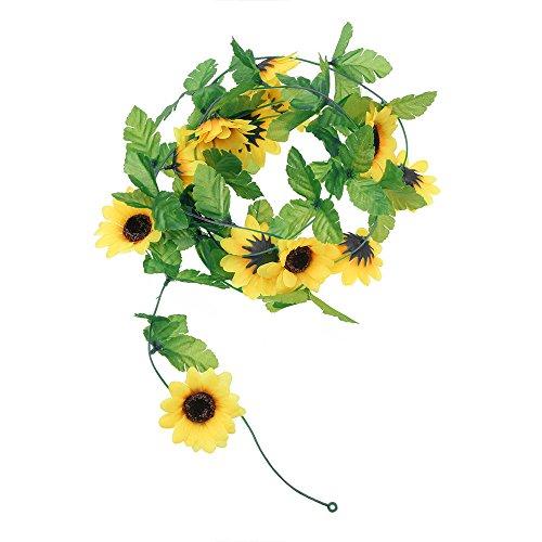 Sonnenblumen Garten (Künstliche Sonnenblumen Girlande Blume ivy für Hochzeit Garten Dekoration, 2,5m 1 Stück)