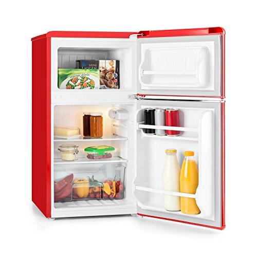 Klarstein Monroe Red • Kühl- und Gefrierkombination • Mini-Kühlschrank • Retro Look • 61 Liter Volumen • 24 Liter Gefrierfach • 2 Glas-Ablagen • Gemüsefach • 2 Türablagen • 5-stufig regelbare Kühlleistung • niedriges Betriebsgeräusch: 40 dB • rot