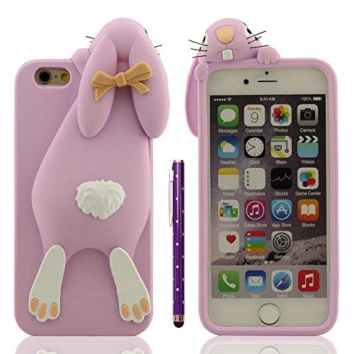 """Hülle für iPhone 6 Plus, Schutzhülle für Apple iPhone 6S Plus 5.5"""", Sehr hübsch 3D Tier Stil Hase Aussehen Weich Silikon Gel Passt Perfekt + 1 Stylus pen Lila"""