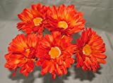 15 x Kunstblume, mit Stiel, Motiv orangefarbene Gerbera Big Bloom-besonders dramatischen, für Haus und Garten