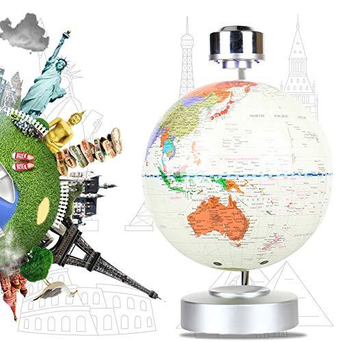 Brrnoo 8 Inch Globo Flotante de Levitación Magnética, Globo de Antigravedad, Mapa de Mundial Rotativo con LED, para Decoración de Hogar y Oficina y Regalo de Creativo y Educacion de Geografia