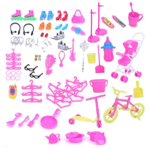 98 PCS completa muñeca accesorios kit tacones altos cocina suministros de limpieza herramientas de ropa accesorios para Barbie juguetes niños niñas cumpleaños regalo de Navidad