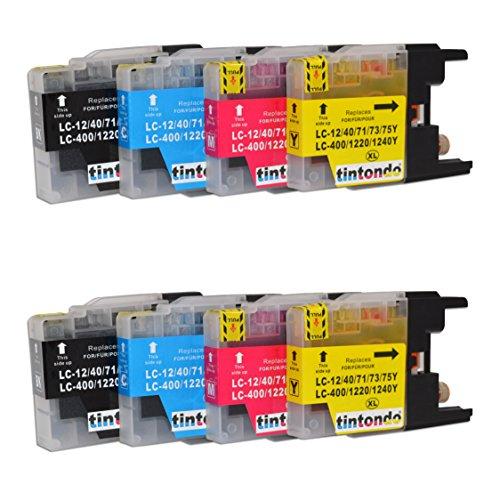 tintondo 8er Set Druckerpatrone - Tintenpatrone ersetzt Brother LC-1240 - LC-1220 - LC-400 / Farbe: Schwarz, Cyan, Magenta, Gelb / 1x 18ml XL / 3x 11ml XL