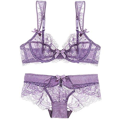 Nature Damen Spitze Ungefüttert Dünn Transparente Bügel BH und Panty Set - (Violett 85B)