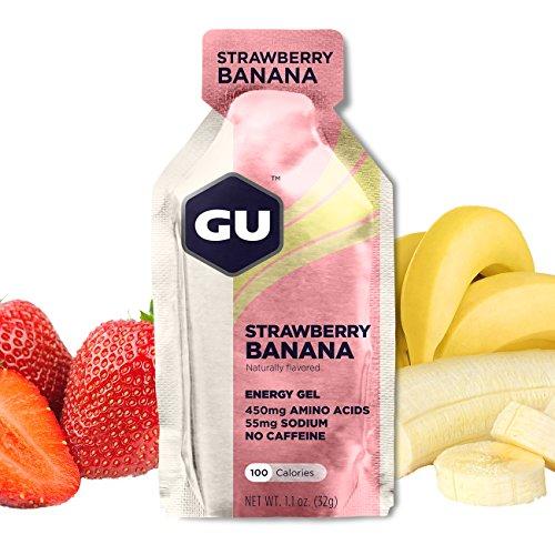 GU Energy Gel, Strawberry Banana (Erdbeer Banane), Box mit 24 x 32 g