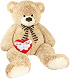 Brubaker Riesiger XXL Teddybär 150 cm groß Beige mit Einem 'Einen Engel ohne Flügel nennt Man Mama' Plüschherz