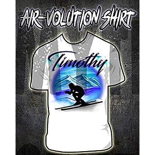 Mythic Airbrush Personalisierte Airbrush Skiing Shirt Kinder- / Erwachsen-Größen Weiß
