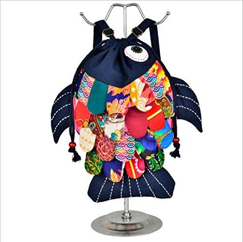 Yunnan Longlove caratteristiche etnico realizzato a mano, in borsa a tracolla, motivo: Gattino e pesce, personaggio dei cartoni animati, Zaino Multicolore (Blu navy)