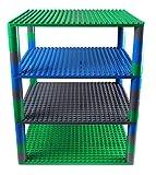 Strictly Briks Premium-Set für Turm-Konstruktionen - 4 Bauplatten & 48 Bausteine - mit Allen Marken für große Bausteine Kompatibel - Blau, Grau und Grün