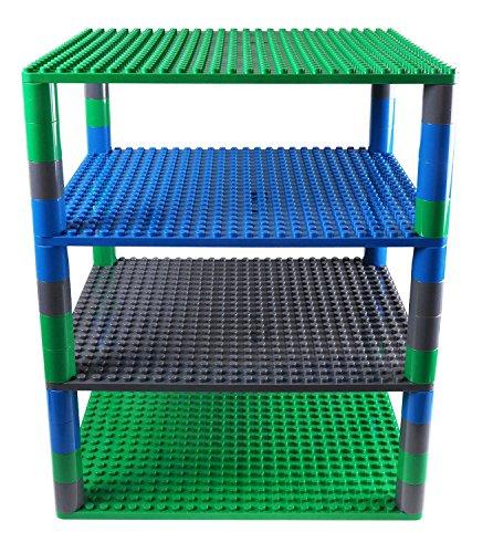 Premium-Set für runde Turm-Konstruktionen - 4 Bauplatten & 48 Bausteine - mit allen Marken für große Bausteine kompatibel - Blau, Grau und Grün