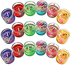 The Party Shopers Luxury Small Multicolor Smokeless Decorated Mini Cute Little Glass Jelly Gel Candles for Home Decor Diwali Decoration,Spa,Birthdays Party,Festivals (Set of 12 Pieces)