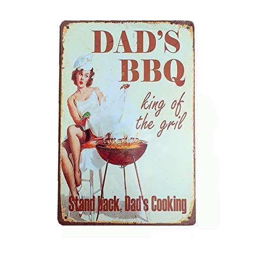 Aoforz Placa Retro de Barbacoa para papá decoración de Pared para Pub Cocina Parrilla menú Vintage...