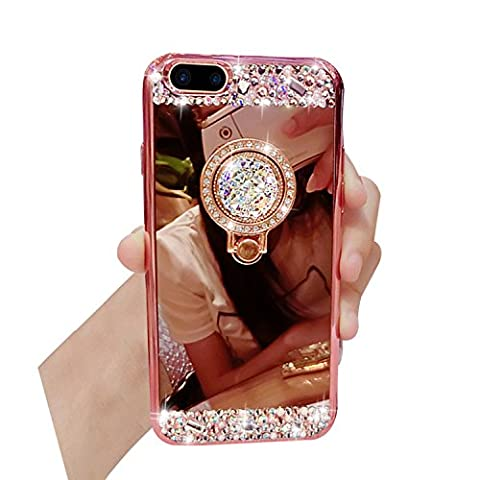 Bonice Glitter Case for iPhone 7 Plus + [Ring Stand Holder], Ultra Thin [Anti-slip] Luxury Bling Makeup Mirror Phone Case Anti-dust Soft Rubber Bumper Practical Protective Cover for iPhone 7 Plus 5.5 inch - Rose