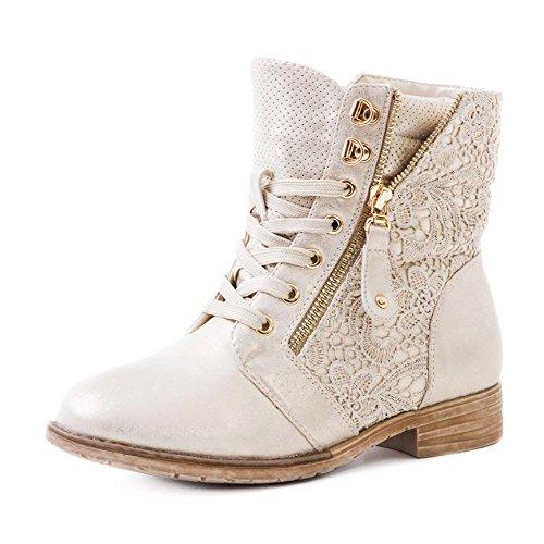 Marimo24 Damen #Trendboot Stiefel Stiefeletten Worker Boots mit Spitze in hochwertiger Lederoptik Gold 41