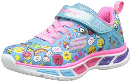 Skechers litebeams-feelin' it, scarpe running bambina, blu (turquoise/multi), 27.5 eu