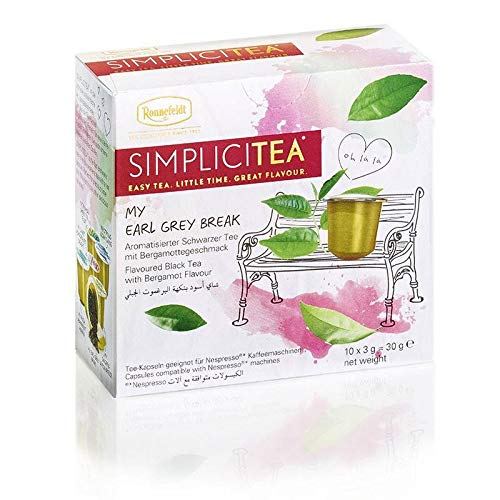 Ronnefeldt SimpliciTea My Earl Grey Break, Aromatisierter Schwarzer Tee mit Bergamottegeschmack, (10 Teekapseln à 3 g)