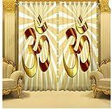 Harshika Home Furnishing God OM 3D Print 4 x 7 Feet Door Curtains