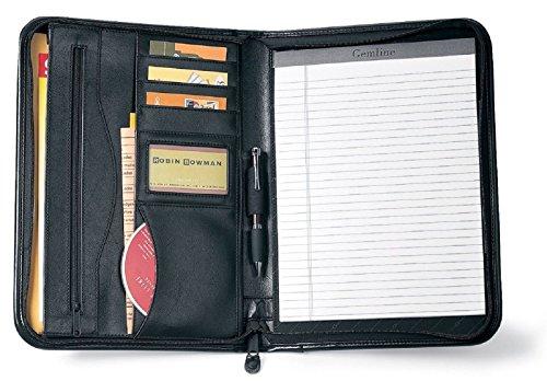 Gemline Deluxe Executive vintage Black Leather zippered Padfolio by Gemline - Deluxe Padfolio