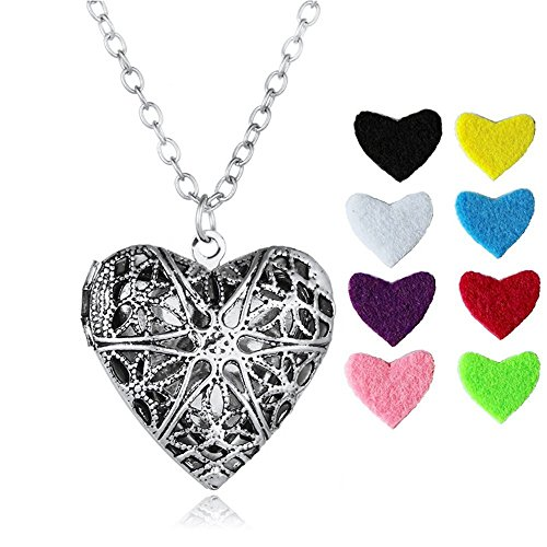 Morenitor Love Anhänger, Legierung Hohl Herz Medaillon Anhänger ätherisches Öl Diffusor Halskette Schmuck Geschenke für Frauen, 8Farben Mesh Pads, Ancient Silver, 2.6 * 2.6 * 0.2 cm (Halsketten Diffusor öl)