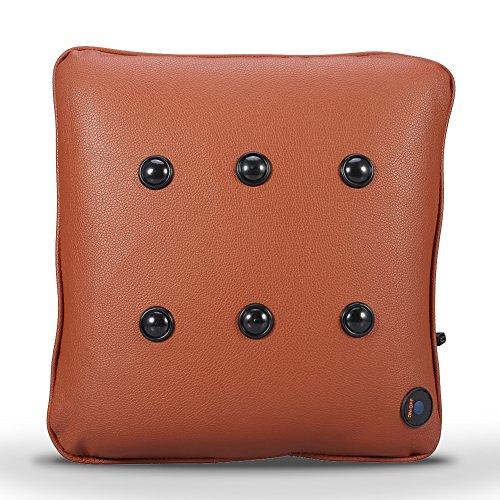 Elektrische Massagekissen Kabelloses Massieren Kissen Entlasten Rücken Hals und Schulter Schmerzen für zu Hause Büro und Auto, USB Laden FDA-Standard(PU Braun)