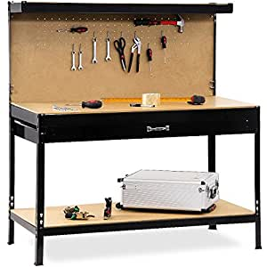 Garage workbench with pegboard and drawer hooks steel ...