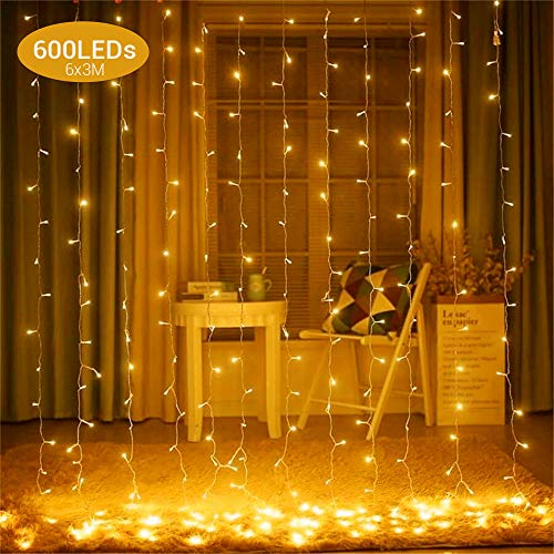 Elegear Curtain Lights Waterfall Fairy Lights 6X3m 600 LEDs Wall Window Fairy Lights Indoor Decorative Lights with 8 Modes for Bedroom, Patio, Christmas - Warm White