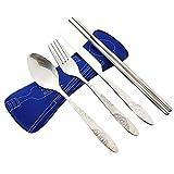 Acciaio inossidabile 4 pezzi (coltello, forchetta, cucchiaio, bacchette), posate da viaggio / campeggio con cassa in neoprene (Blu marino(4 pezzi))