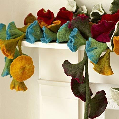 Paper High Filz Blumen-Girlande - Rot ( Ca. 160 cm Lang)