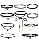 Fablcrew set collana girocollo in velluto pizzo stretch Tattoo choker nappa donne collana nero 10PCS
