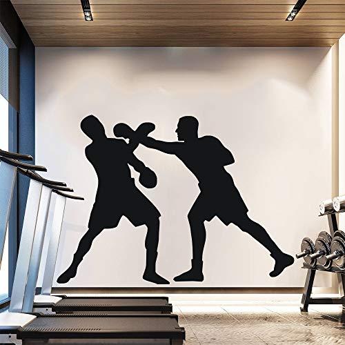 YSFU Wandtattoos Wandaufkleber Zwei Boxer Boxing Silhouette WandaufkleberWandbild Home Art Decor Sport Zwei Männer Kampf Aufkleber Martial Aufkleber 42 * 53 cm