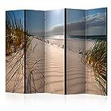 murando Raumteiler Strand Meer Foto Paravent 225x172 cm beidseitig auf Vlies-Leinwand Bedruckt Trennwand Spanische Wand Sichtschutz Raumtrenner Natur Landschaft c-B-0340-z-c