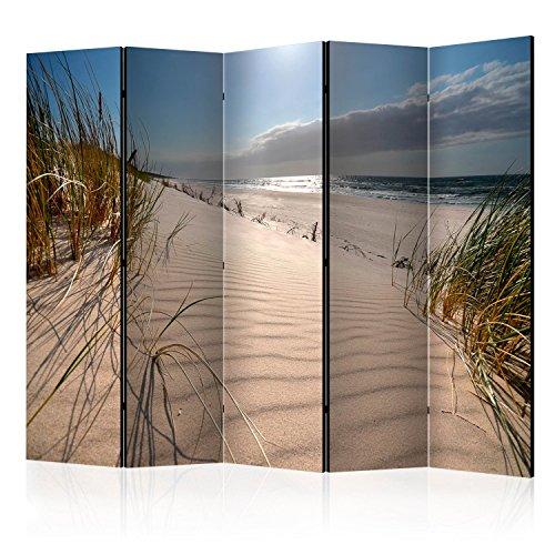 murando Paravento Spiaggia Mare 225x172 cm Stampa unilaterale su Tela in TNT Parete Divisoria Interno Separatore Stanza Pieghevole Decorazioni Design Natura Paysage c-B-0340-z-b