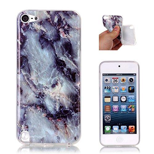 iPod Touch 5G Slim Schutzhülle, Aeeque Einfach Marmor Textur Design Handyhüllen Soft Klar Durchsichtig Rahmen Silikon Kratzfeste Flexibel Backcover Zurück Hülle Tasche für iPod Touch 5G/6G - Grau (Grau-ipod-touch-fall)