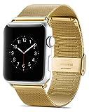 JAMMYLIZARD Armband für Apple Watch 42 mm / 44 mm | Milanese Mesh Uhrenarmband aus Gebürstetem Edelstahl in Gold mit integriertem Armband Connector