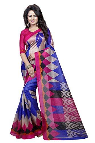J B Fashion Women's Bhagalpuri pink and blue Saree With Blouse Piece