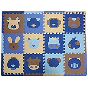Partiss 12 Pcs Cute Animal Insect EVA Foam Play Mats Floor Puzzle Crawling Play Game Mat for Baby Kids Childre Toddlers -Bright Color,Environmental Material, Safe to Use