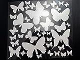 Bügelbild, Motiv: Schmetterlinge, Farbe: weißglitzernd, heißsiegelfähige Flexfolie