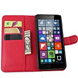 Tasche für Nokia Microsoft Lumia 640 XL Dual-SIM Hülle, Ycloud PU Ledertasche Flip Cover Wallet Case Handyhülle mit Stand Function Credit Card Slots Bookstyle Purse Design rote