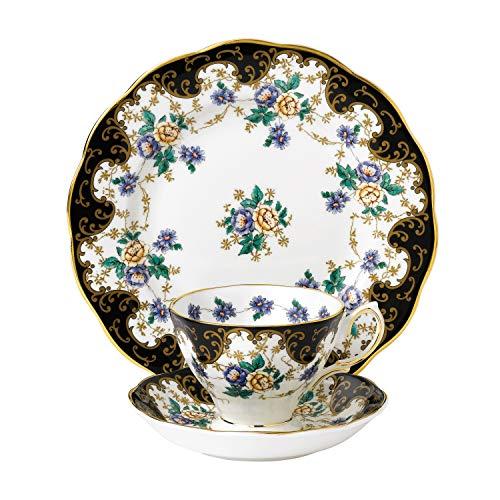 Royal Doulton Teetasse/Untertasse und 20cm Duchess 4.851,4cm Teller, schwarz, Set 3 -