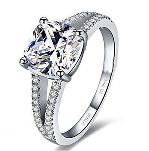 Anyeda Silber 925 Ringe Damen Anpassbare Ringe Hohl Design Square Cz Ring Damen mit Namen Ringgröße 53 (16.9)