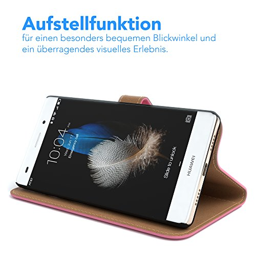 Huawei P8 Lite (2015) Hülle - EAZY CASE Premium Flip Case Handyhülle - Schutzhülle in Braun Rosa (Book)