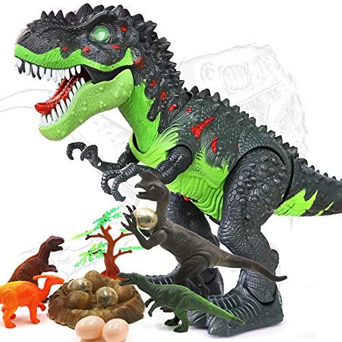 HANMUN Elektronisches Spielzeug mit grünem Tyrannosaurus Rex Dinosaurier mit Lichtern und Geräuschen, echte Bewegung, Mehrfarbig