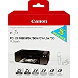 Canon 4868B018 Tintentank Multipack PGI-29 MBK/PBK/DGY/GY/LGY/CO, matt-/fotoschwarz/dunkel-/hell-/grau/transparent