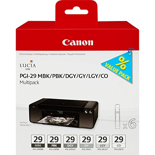 Canon 4868B018 - Multipack 6 cartucce d'inchiostro PGI-29 MBK/PBK/DGY/GY/LGY/CO