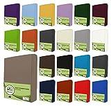 leevitex Jersey Spannbettlaken, Spannbetttuch 100% Baumwolle in Vielen Größen und Farben MARKENQUALITÄT ÖKOTEX Standard 100 | 200x220 cm +40 Steg - Sand/beige